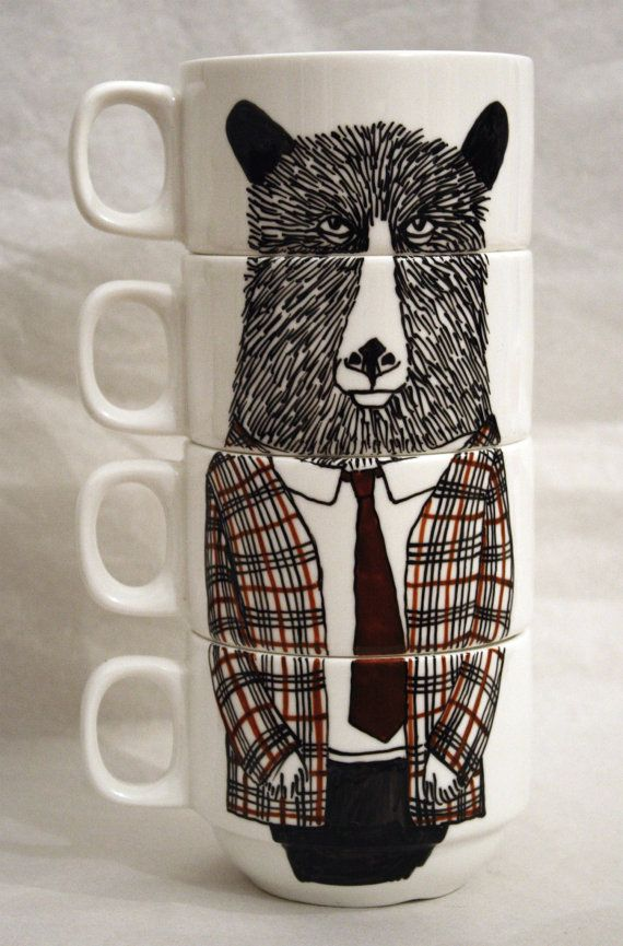 Hand painted set of 4 Coffee cups - Geography Teacher by James Ward