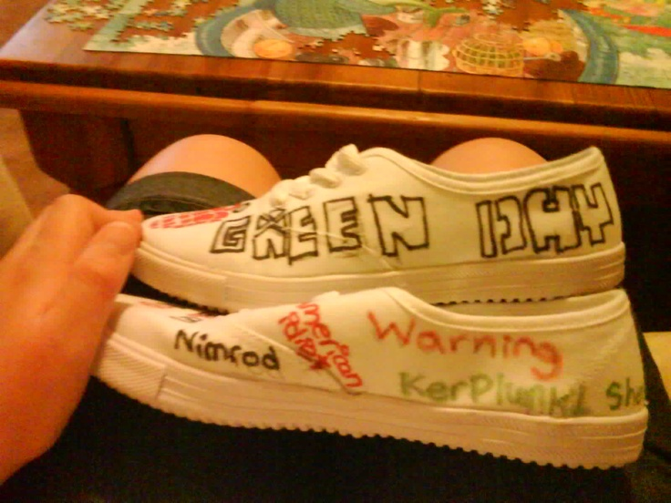 My Hand Drawn Green Day shoes