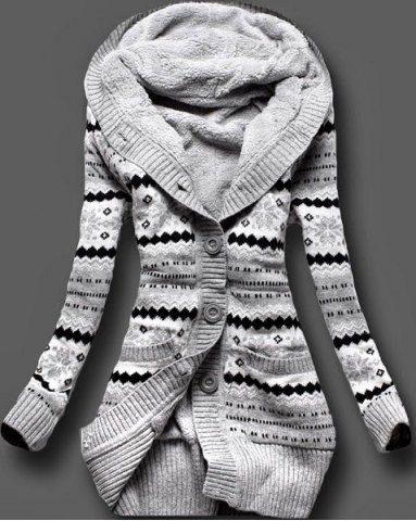 Stylish Hooded Long Sleeve Geometric Single-Breasted Women's CardiganSweaters & Cardigans | RoseGal.com