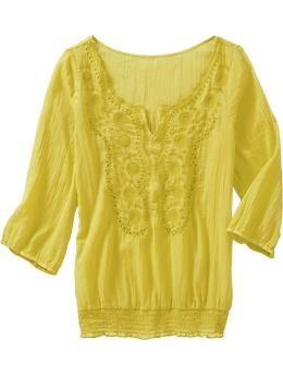 old navy embroidered gauze top $29.94. loving yellow..think i need to pick this up