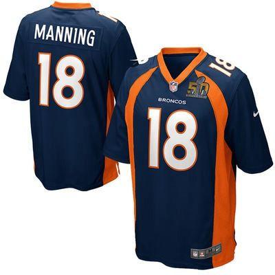 Men's Denver Broncos #18 Peyton Manning Navy 2016 Super Bowl 50 Bound Game  Jersey