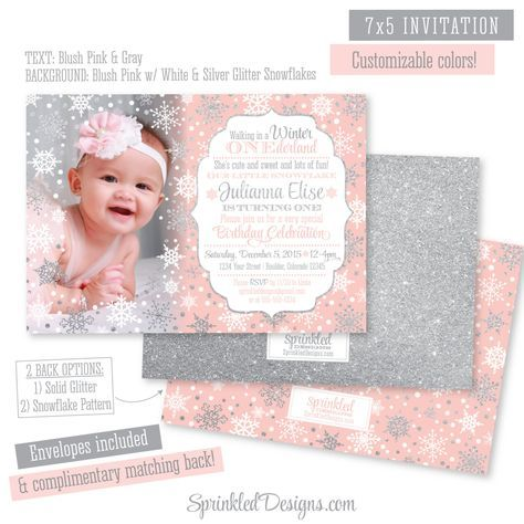 winter onederland birthday invitation girl photo card gray white silver glitter snowflakes snow first birthday printed party invites by sprinkleddesign - Winter Onederland Party Invitations