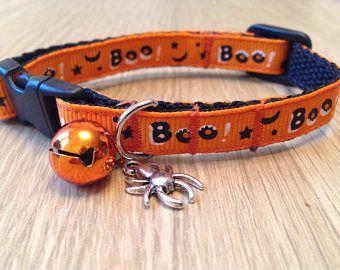 Arancione di Halloween 'Boo!' Collare gatto/gattino di Breakaway sicurezza (Quick Release) con opzioni di fascino e bell