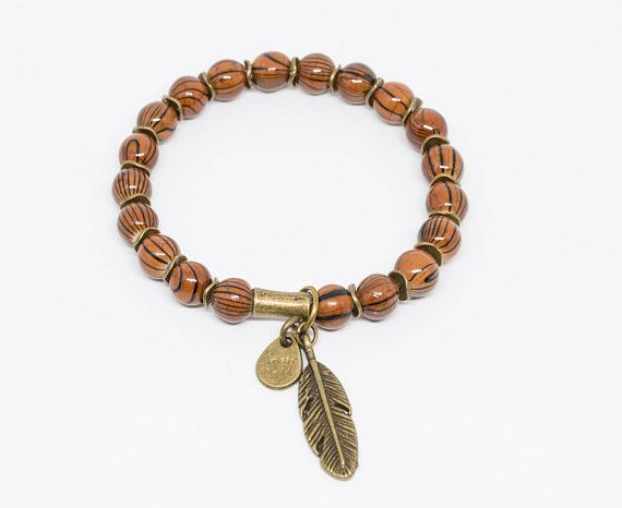 Striped Agate with Brass Feather Pendant - Handmade Stretch Bracelet, Womens Bracelet, Mens Bracelet