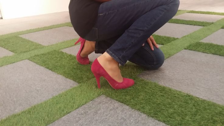 Pink #shoes on grass and #tiles at #Cersaie