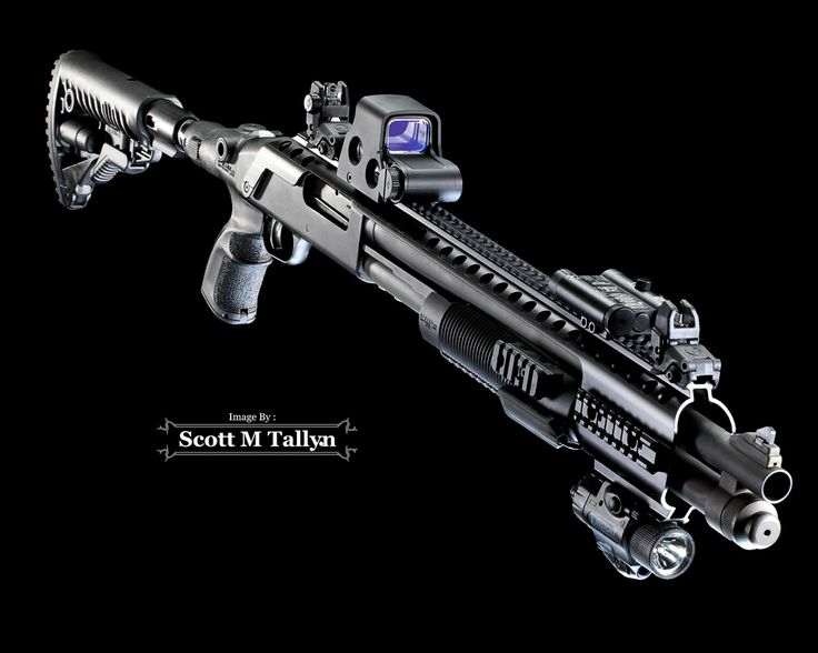 GunShots Photography: Mossberg 590 Custom Tactical Shotgun. Mossberg 590 Tactical Shotgun:Accessories: Black Aces Maverick 88 Tactical Rail, Mako Handguard with 3 Rails, Mako Recoil-Reducing Folding Collapsible Buttstock for Mossberg 500/590, Magpul MBUS Gen 2 Backup Sights, Eotech XPS2.0 Holographic Sight, Insight M6X Laser/Illuminator and Laserlyte Center Mass Green Laser