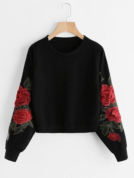 Rose Embroidery Sweatshirt