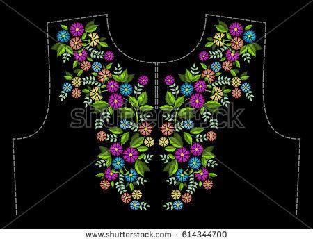 Стильные, модные, яркие цветочные композиции, красочные летние полевые Цветы для текстильных изделий вышивкой. Шаблон для оформления горловины одежды.