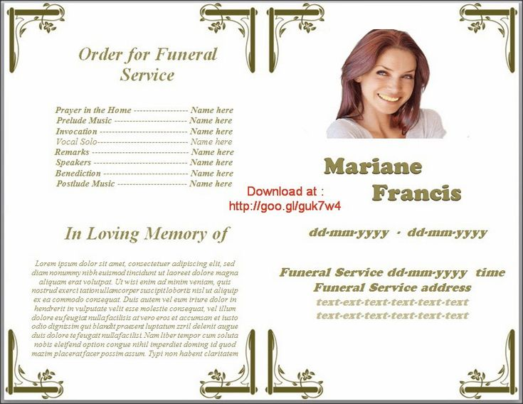 Memorial Service Programs Template Microsoft Office Word In Many Language Of English French
