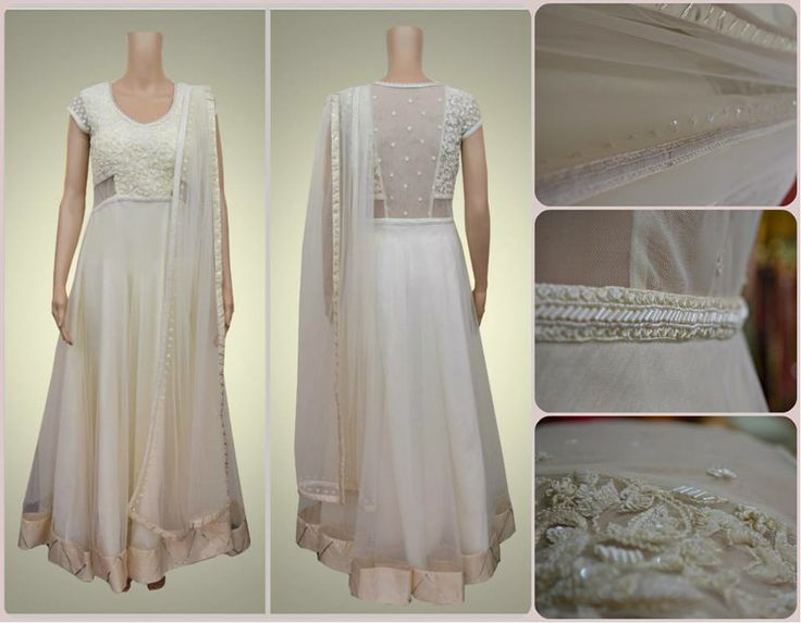 Pearl white anarkali embroidered exquisitely with beads and pearls taking beauty to a whole new level.