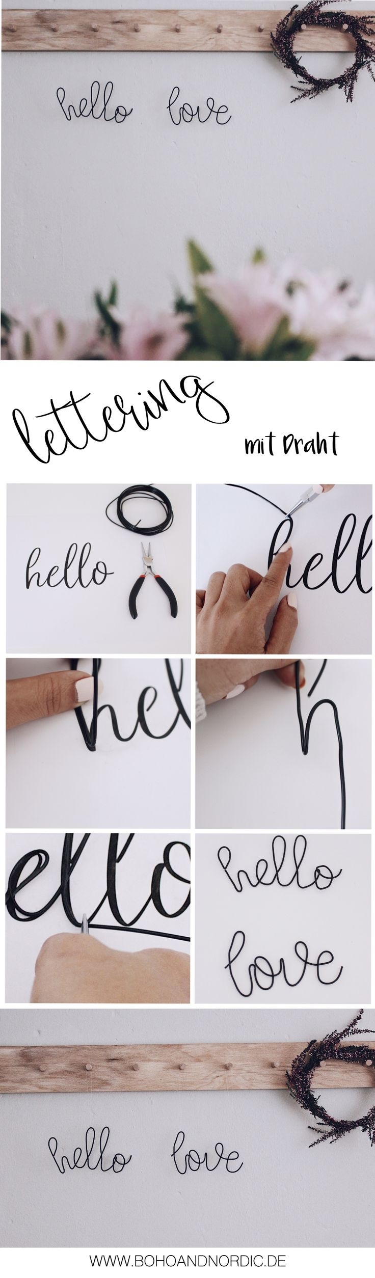 Lettering mit Draht + Freebie 4 Vorlagen DIY Deko und Wohnen Dekoration im skandinavischen Stil