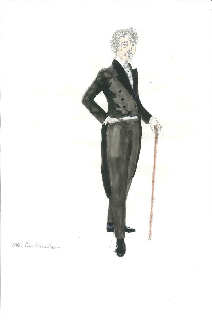 Cecil Graham's costume sketch for Act 2, designed by Meg Neville