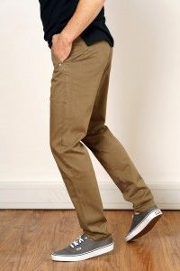 Men's Sateen Olive Brown Chino Pant
