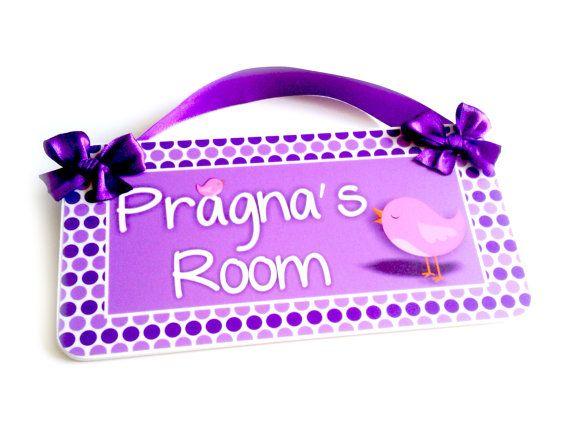 purple birdies purple and lilac decor   bedroom door sign baby girls  nursery   girls room Wall Art   P51. 25  unique Bedroom door signs ideas on Pinterest   Harry potter