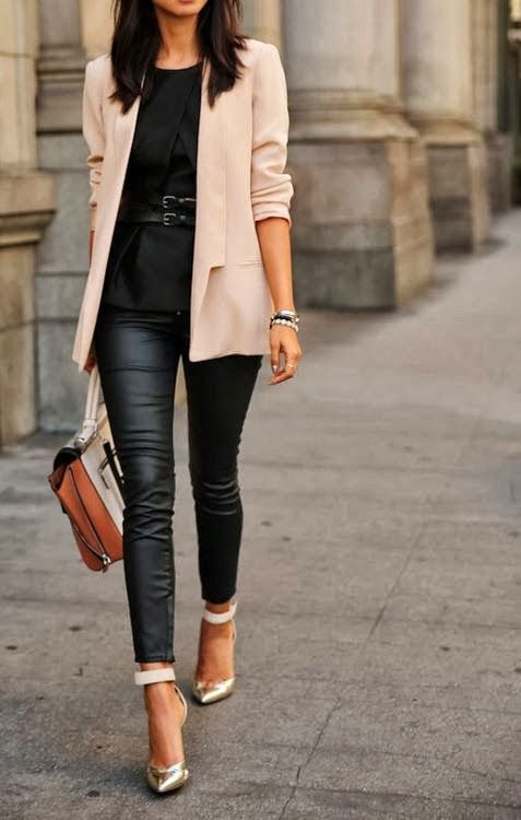 Easy-going nude jacket with black top and matching leather skinnies. Nice touch on the shoe with ankle strap detail