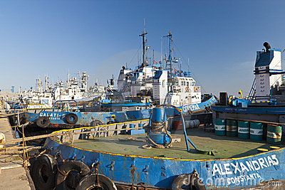 BLACK SEA, CONSTANTA, ROMANIA - AUGUST 03, 2011 - View of many towboats docked in the port berth on August 03, 2011 in Constanta, Romania.