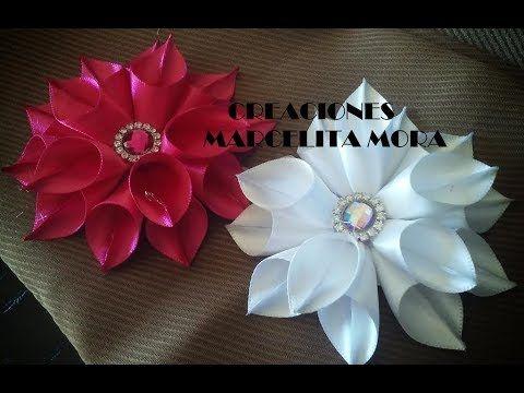 Flor en Picos Liston Satin/ Flor de Fita de Cetin/Easy Flower Ribbon Satin