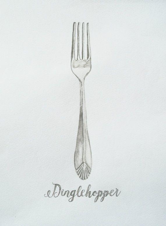 Dinglehopper Watercolor Print Little Mermaid Art Fork
