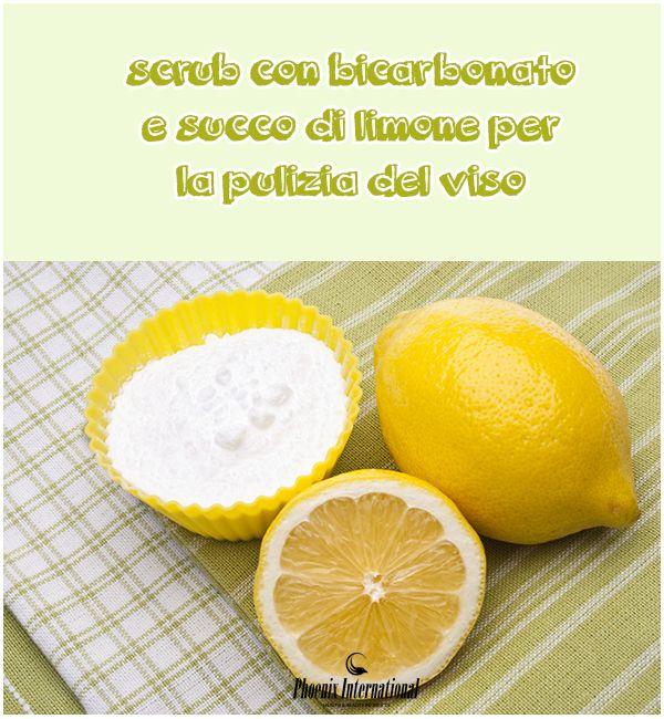Scrub con bicarbonato e succo di limone per la pulizia del viso.