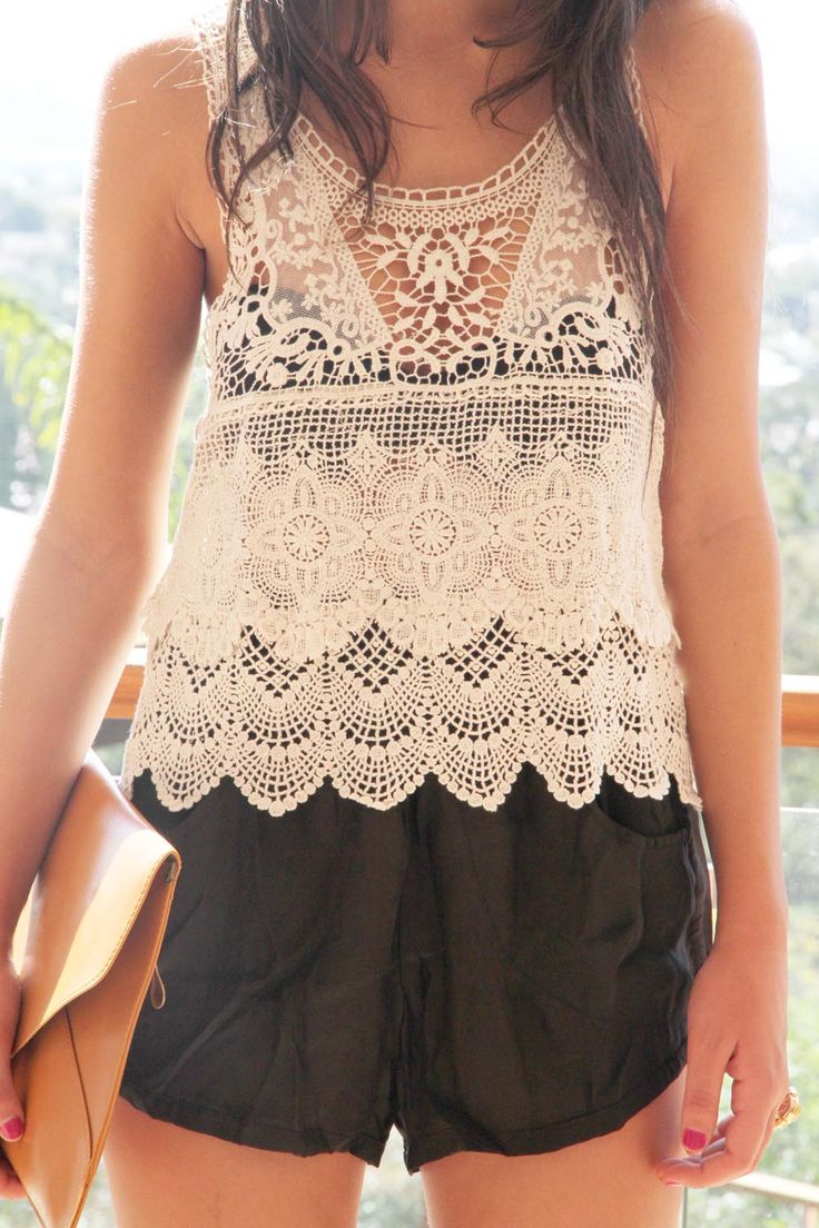 crochet top, can be casual with denim shorts or dressed up with black shorts and wedges