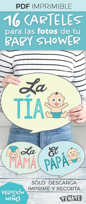 Carteles / banners / letreros para fotos de Baby Shower -Photo booth- Versión Niño  Son 16 carteles. ¡Con estos divertidos carteles involucra a la familia del bebé en tu Baby Shower! Después usa las fotos para crear un bonito álbum de recuerdos para el bebé.