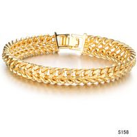 New Fashion Bracelet bold chain 18K GOLD BANGLES men gold bracelet for wedding jewellery