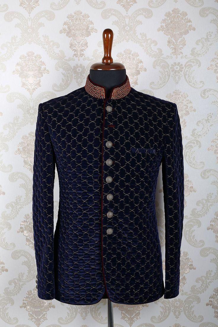 Navy #blue & #gold #velvet slim fit smart #suit with mandarin collar -ST386