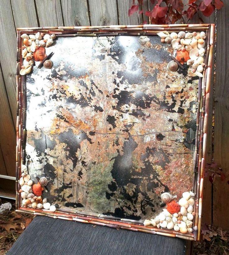 CONTEMPORARY Antique Glass Mirror with Sea Shell frame #Handmade #Contemporary