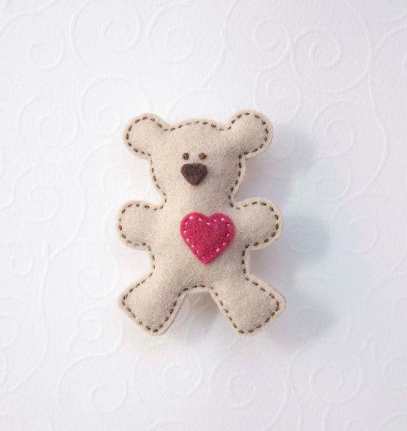 Teddy bear felt brooch  with pink heart by suyika on Etsy