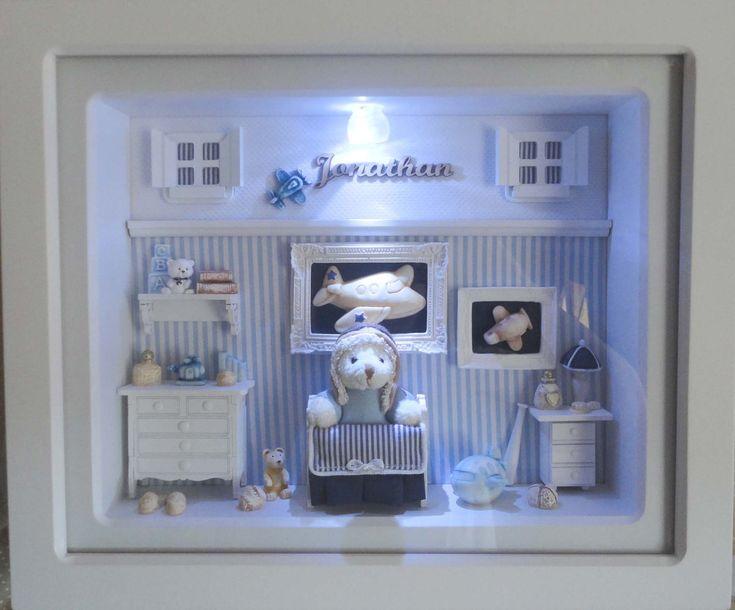 Quadro com vidro frontal e iluminação para porta de maternidade e decoração. <br>Decoração temática de aviãozinho. Iluminação com led e alimentação por pilhas. <br>Cores, estampas e detalhes substituíveis. <br>Miniaturas em MDF recortadas a laser e em resina. Mini urso em pelúcia conforme modelo encontrado na época. <br> <br>PRODUTO ARTESANAL SUJEITO À VARIAÇÕES