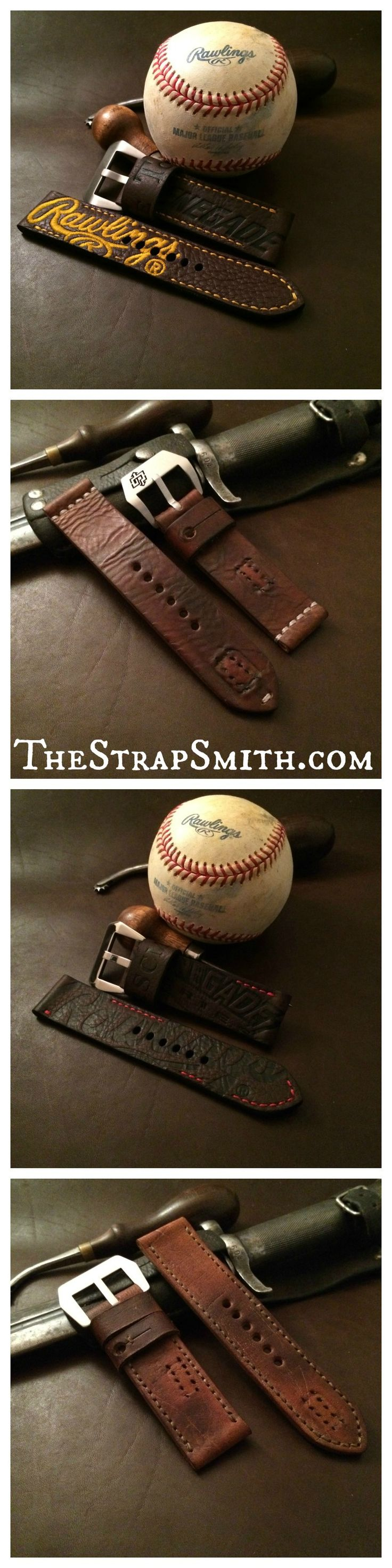 baseball and vintage watch straps. built and ready to ship!