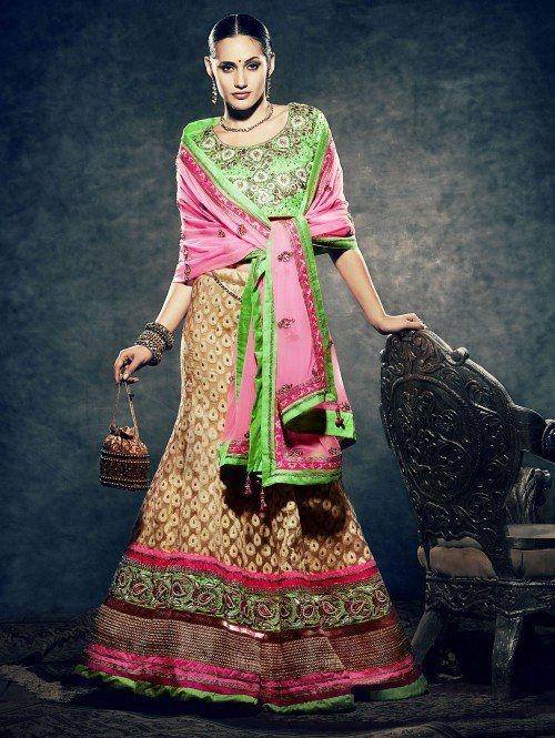 Beige Pure Silk Lehenga Choli with Resham and Zari Work