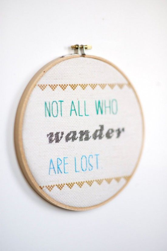 Loving these text-based cross stitch pieces