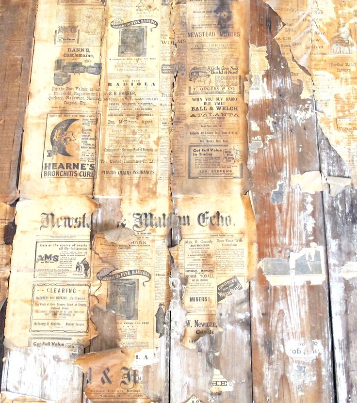Early wall paper (and insulation, cottage, Pioneer Settlement, Swan Hill, Victoria