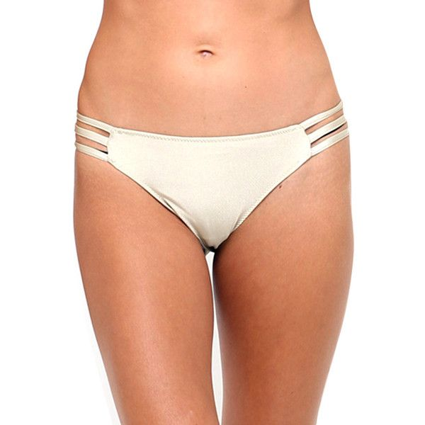 Motel Sunstone Cut Out Bikini Bottom in Gold (20 CAD) ❤ liked on Polyvore featuring swimwear, bikinis, bikini bottoms, gold, cutout bikini bottom, cutout swimwear, swim bikini bottoms, gold swimwear and bottom bikini