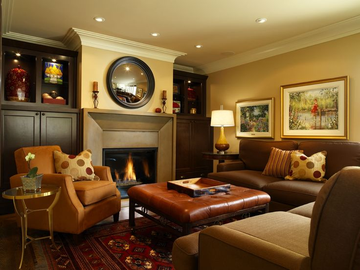 Small Family Room Decorating Ideas With Brown Sofa Fireplace And Big Wall Mirror