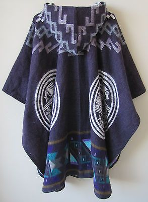 Llama Wool Poncho with Hood violet purple Man Woman Cape Men Handmade in Ecuador