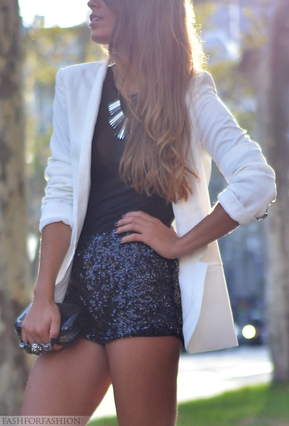long white blazer, sequin shorts