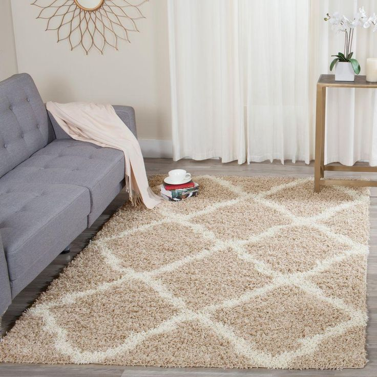 Dallas Shag Beige/Ivory 5 ft. 1 in. x 7 ft. 6 in. Area Rug