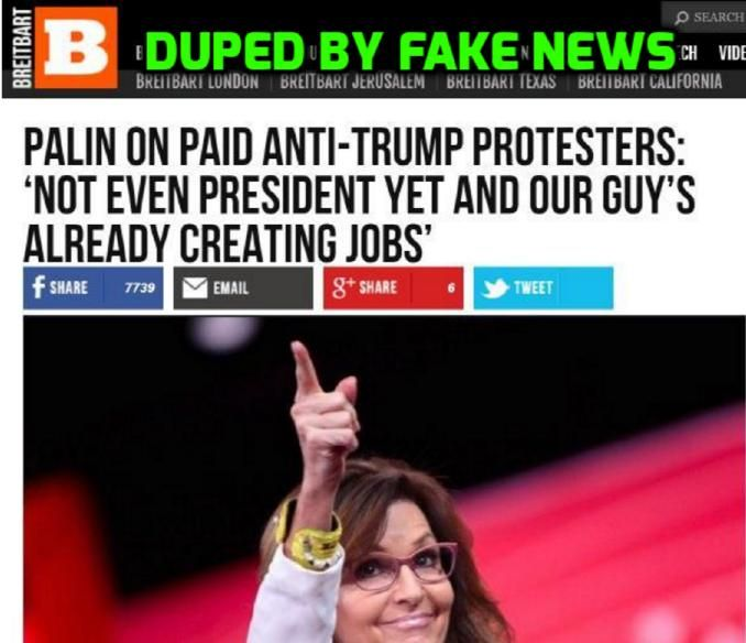 "The conservative ""news"" site cited a fake news article to back up claims of paid protesters at Trump rallies. ***Breitbart, another site that lies to borrow and lie."
