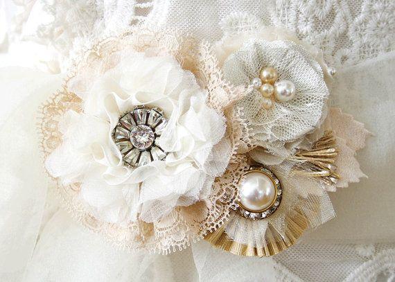 Unique Wedding Dress Sashes Belts: Wedding Belts And Sashes, Custom Made Fabric Flower Bridal