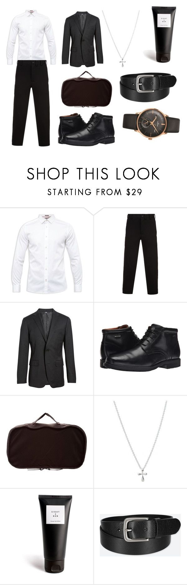 """Prom with Damian"" by racheldenisnefeke ❤ liked on Polyvore featuring Ted Baker, Yohji Yamamoto, Bonobos, Rockport, Berluti, Eight & Bob, Uniqlo, Longines, men's fashion and menswear"
