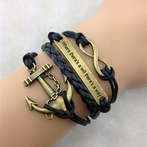 Retro Anchor Embellished Multilayered Woven Wrap Bracelet