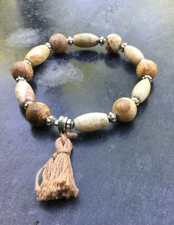 30% OFF for the first 20 Stretch bracelet – Unisex - Rustic bracelet – Agate beads and silver beads -  with tassel.