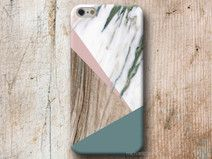Geometrisch Marmor Holz hülle iPhone Samsung A3 A5