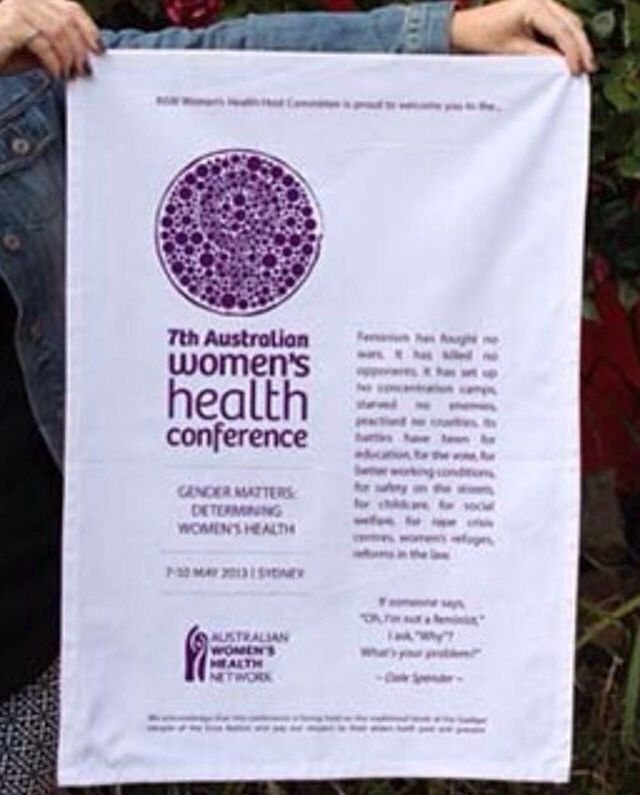 """Our #Promotional tea towels, #aprons and #bags really make an impact with your #brand and message. Here's a pic of the Australian Women's Health Conference #teatowel! """"A fantastic organised and professional service.""""AWHC.  Click the link in our bio/below for your FREE info pack today!"""