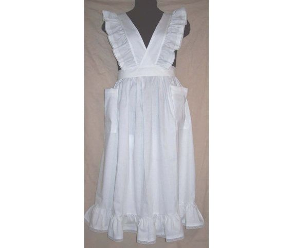 Medium/Large Victorian Bib Apron longer length white or natural muslin