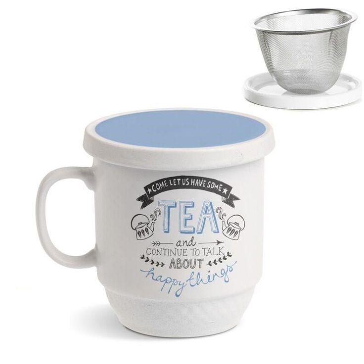Tisana Happy things. Una tisana perfecta para prepararte tus tés más sabrosos. En Decocuit podrás disfrutar de un té con una taza de té con filtro apta para microondas y lavavajillas. Estamos en C/ San Pablo 22, Burgos, o en nuestra tienda on line www.decocuit.com.