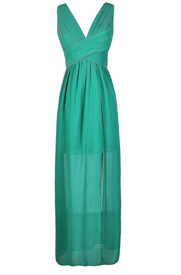 Criss Cross The Line Chiffon Designer Maxi Dress in Teal  www.lilyboutique.com