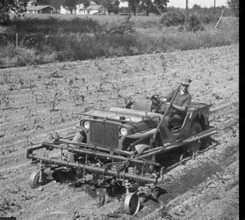Willys Jeep Farm Equipment, now that's a cool way to farm.
